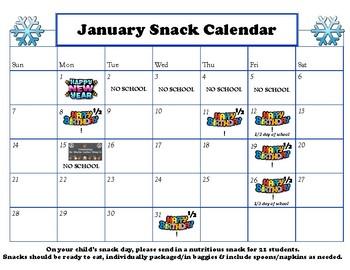 January Snack Calendar Editable