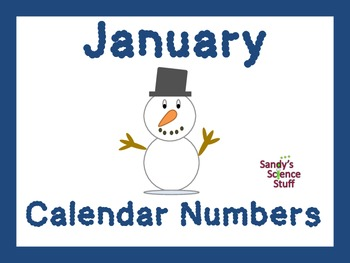 January (snowman) Calendar title and numbers