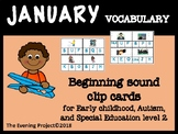 January vocabulary -Beginning sound clip card
