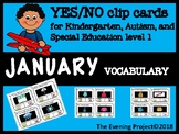 January vocabulary -Yes/No clip cards for Special educatio