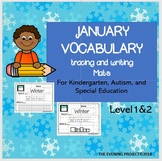 January vocabulary tracing and writing mats