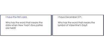 """January/February """"Who has..."""" Vocabulary"""
