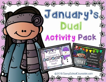 January's Dual School Counselor Activity Pack- Savvy Schoo