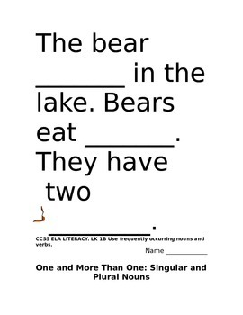 Bear Theme Langauge Arts Packet Kindergarten