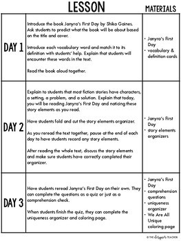 Janyra's First Day Guided Reading Plans & Activities