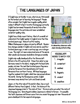 Japan Languages and Alphabet Informational Texts Activities