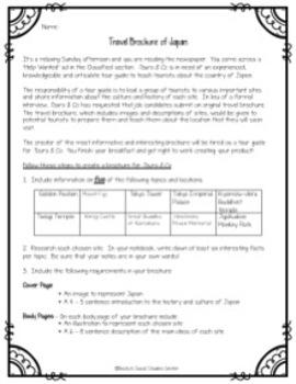 Japan Activity / Project: Create a Travel Brochure