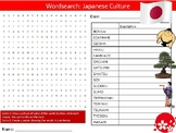 Japan Culture Wordsearch Puzzle Sheet Keywords Geography Countries