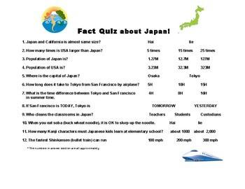 Japanese: Fun Fact Quiz  (incl. answer key)日本トリビアクイズ
