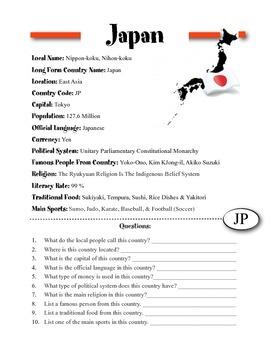 Japan Culture Worksheet   Teachers Pay Teachers