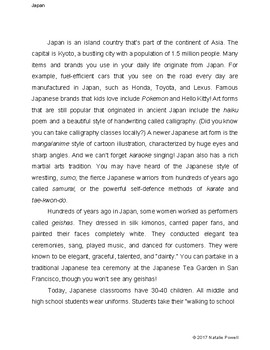 Japan Informational Text: Dyslexia-Friendly