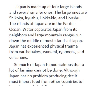 Japan Informational Text and Questions