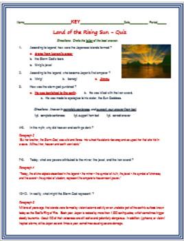 Japan - Land of the Rising Sun + Assessment