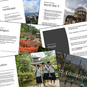 JAPAN - Lesson: Geography, History, Culture, Government Powerpoint and Questions