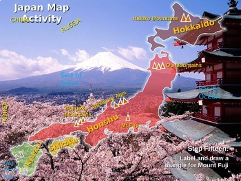 Japan Map Activity: fun, easy, engaging follow-along 30-slide PPT with blank map