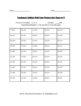 Teachtopia Math Sums to 7 Addition Timed Math Fact Quiz