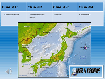 Japan Physical Geography Class GAME: Where in the World Scavenger Hunt GAME
