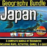 Japan Physical Geography Bundle Lesson Plans, Map Activiti
