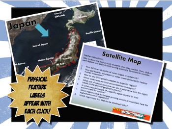 Japan Satellite Map Physical Geography PowerPoint Introduction