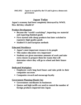 Japan Today Timeline and lecture notes with questions