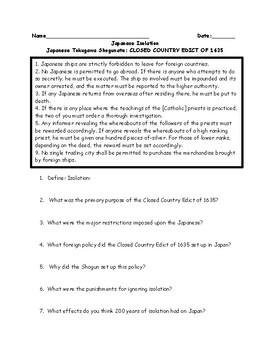 Japan Tokugawa Shuganate Closed Country Edict Adapted Worksheet with Key