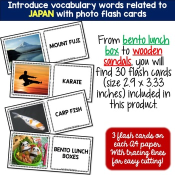 Japan - Country Symbols: 5 Different Word puzzles and 30 Photo Flash Cards