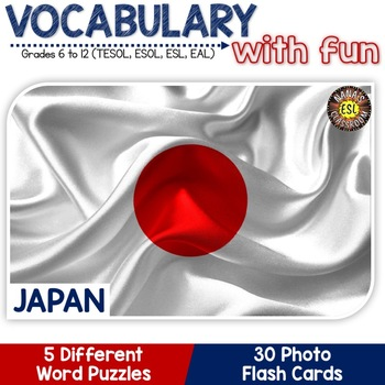 Japan 5 Word Puzzles and 30 Photo Flash Cards BUNDLE