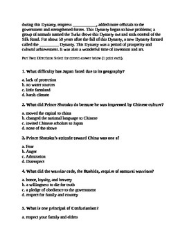 Japan and China Quiz/Test