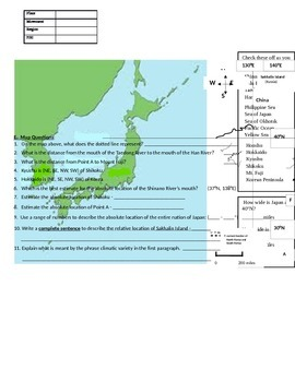 Japan map and reading