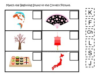 Japan themed Match the Beginning Sound preschool learning game.  Daycare.