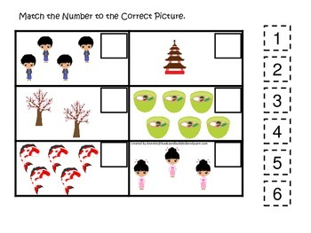 Japan themed Match the Number preschool printable.  Homeschool daycare.