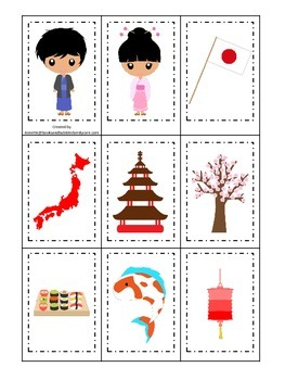 Japan themed Memory Matching preschool learning game.  Daycare.