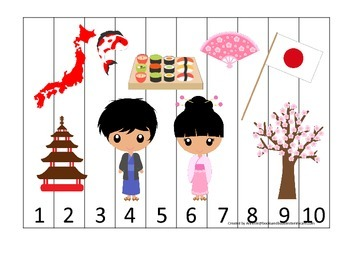 Japan themed Number Sequence Puzzle preschool learning game.  Daycare.