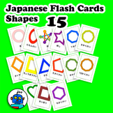 Japanese Shapes Flash Cards. Heart, Circle, Diamond, Squar