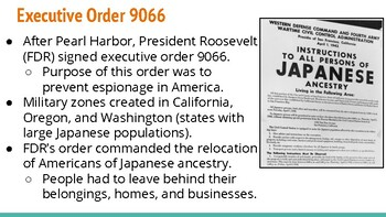 Japanese American Internment Camp Lecture Notes