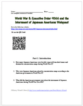 Japanese American Internment Camp Webquest (Great Website)