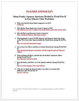 Japanese Americans Divided by World War II in Four Minutes Video Worksheet