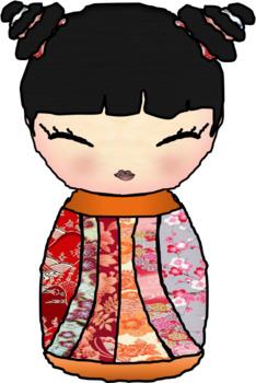 Cute Japanese Boy Girl Kokeshi Doll Lantern Clipart