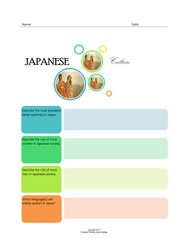 Japanese Culture:  A Fillable Fact-Finding Sheet