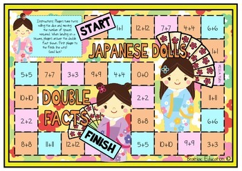 Japanese Dolls Double Addition Facts Board Game