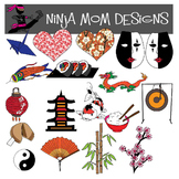 Japanese Elements Clip Art in Color and Black Line