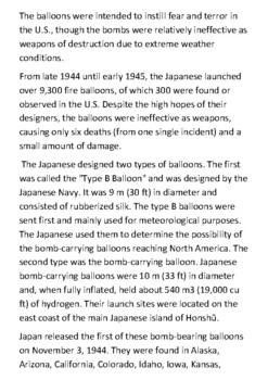 Japanese Fire balloons Handout