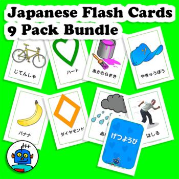 Japanese Flash Cards Bundle. Clothes, Shapes, Colors, Transport, Furniture