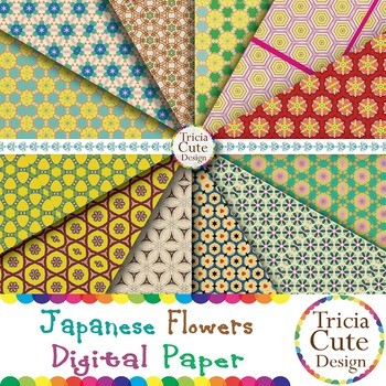 Japanese Flower Patterns Digital Paper