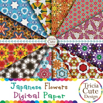 Japanese Flower Patterns Digital Paper (Set 02)