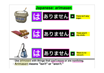 Japanese Grammar Explanation Arimasen ありません