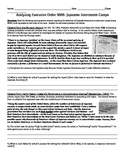 Japanese Internment Camps Common Core Text-based Answers Activity