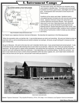 Japanese Internment Camps Primary Source Stations Activity