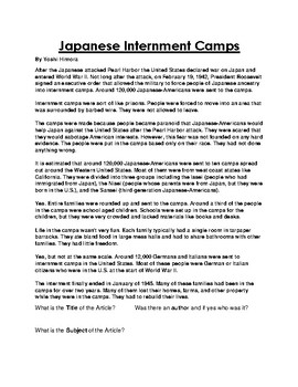 Japanese Internment Camp Worksheets & Teaching Resources | TpT