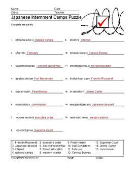 Japanese Internment Camps Word Search and Vocabulary Word Puzzle Worksheets